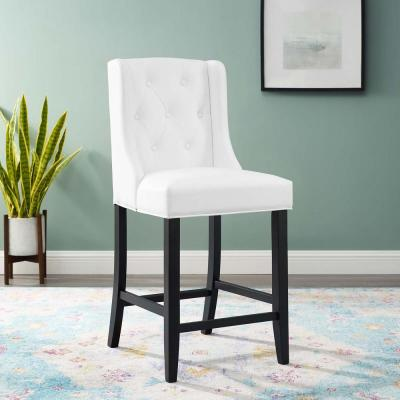 Baronet in White Tufted Button Faux Leather Counter Bar Stool