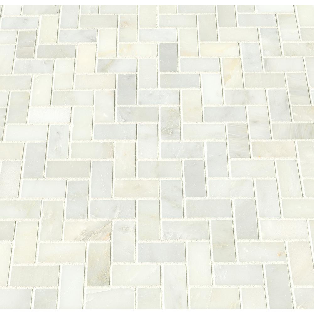 MSI Greecian White Herringbone Pattern 12 in. x 12 in. x 10 mm Polished Marble Mesh-Mounted Mosaic Tile (10 sq. ft./case)