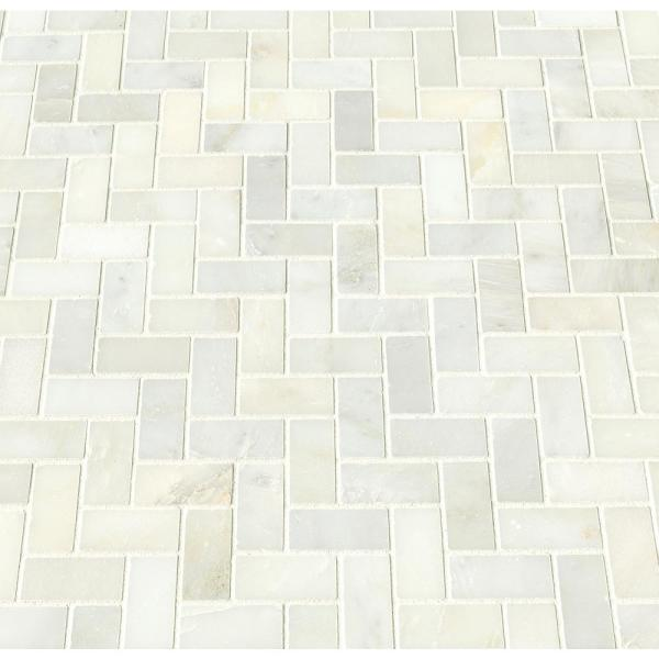 Greecian White Herringbone Pattern 12 in. x 12 in. x 10 mm Polished Marble Mesh-Mounted Mosaic Tile (10 sq. ft./case)