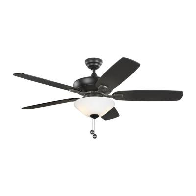 Colony Max Plus 12 in. LED Indoor/Outdoor Midnight Black/Matte White Glass Ceiling Fan with Light Kit