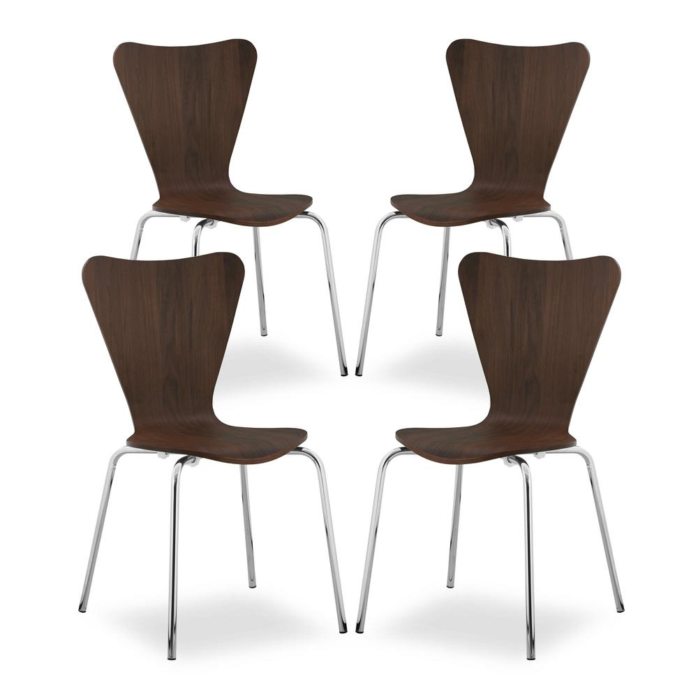 EDGEMOD Brynn Walnut Dining Chair (Set of 4), Brown was $353.23 now $211.93 (40.0% off)