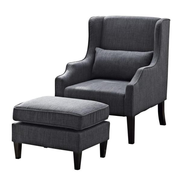 Simpli Home Ashbury 29 in. Wide Transitional Wingback Club Armchair and Ottoman in Slate Grey Linen Look Fabric