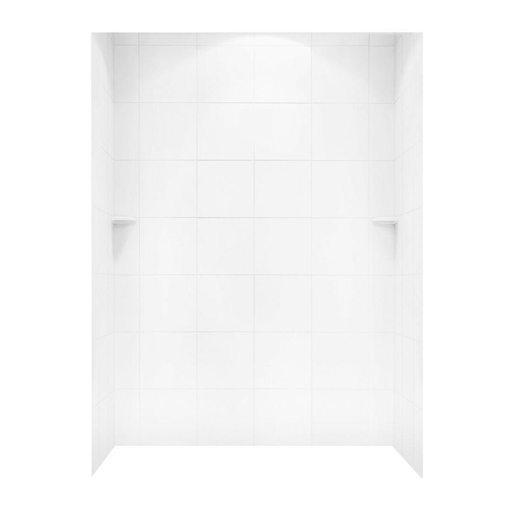 Swan 36 in. x 62 in. x 96 in. 3-piece Solid Surface Square Tile Easy ...