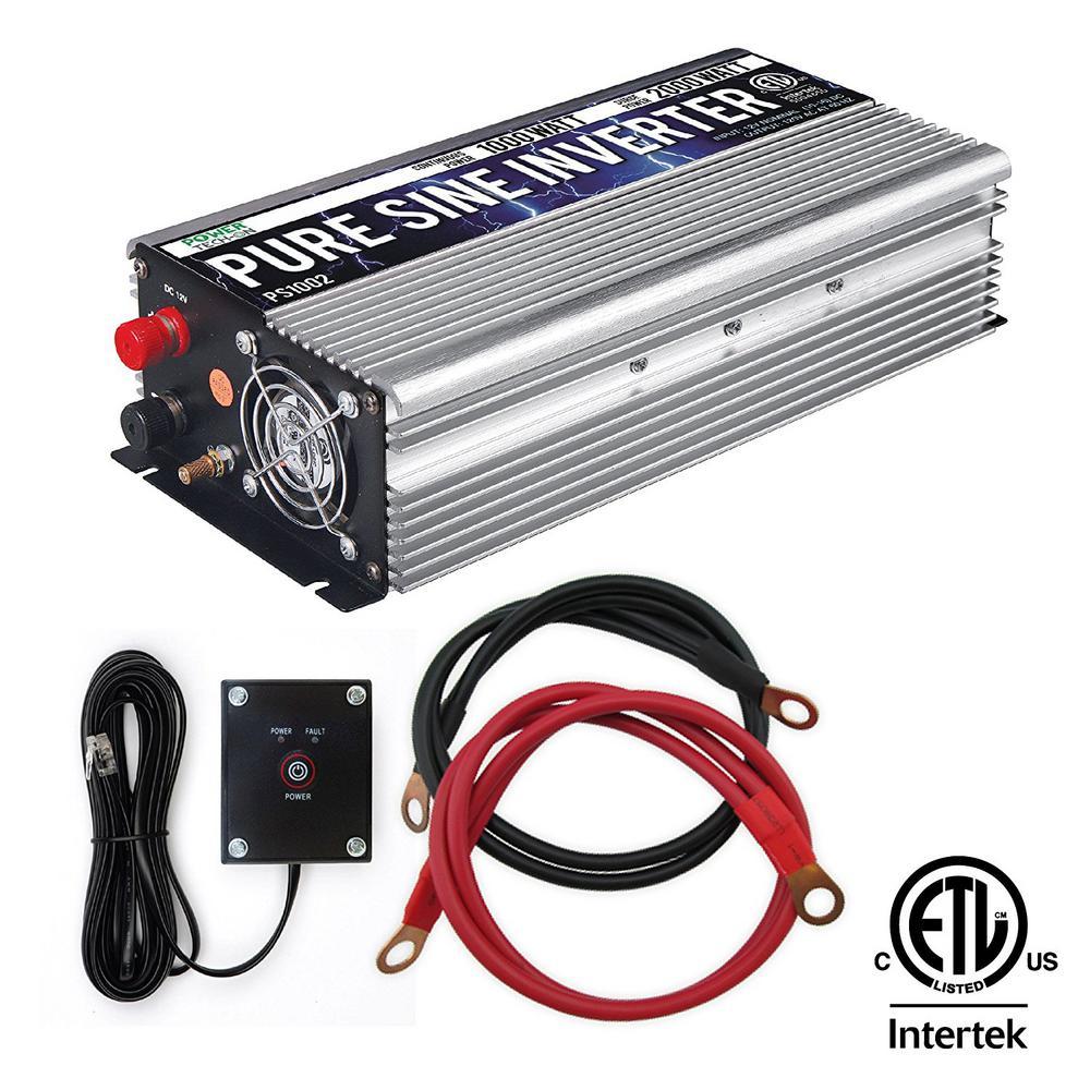 1,000-Watt Continuous/2,000-Watt Peak Pure Sine Wave Inverter