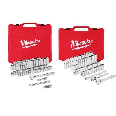 3/8 in. and 1/4 in. Drive SAE/Metric Ratchet and Socket Mechanics Tool Set (106-Piece)