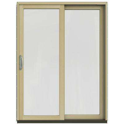 59-1/4 in. x 79-1/2 in. W-2500 Black Right-Hand Clad-Wood Sliding Patio Door with Natural Interior