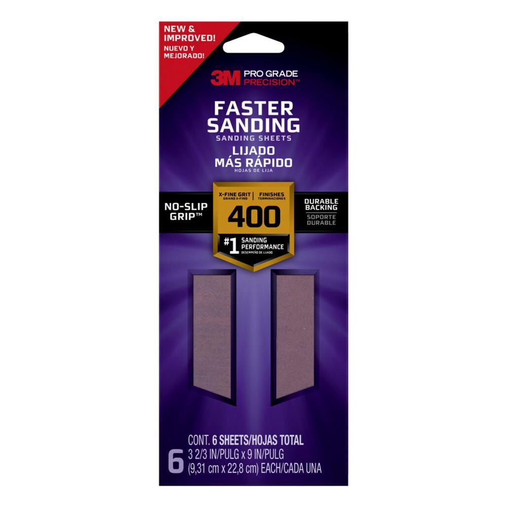 Pro Grade Precision Faster Sanding Sanding Sheets, 3 2/3 in x 9 in, 400 grit, X-Fine, 6/pk