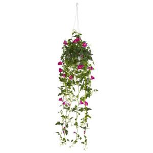 Nearly Natural 30 inch Petunia Hanging Basket Artificial Plant by Nearly Natural