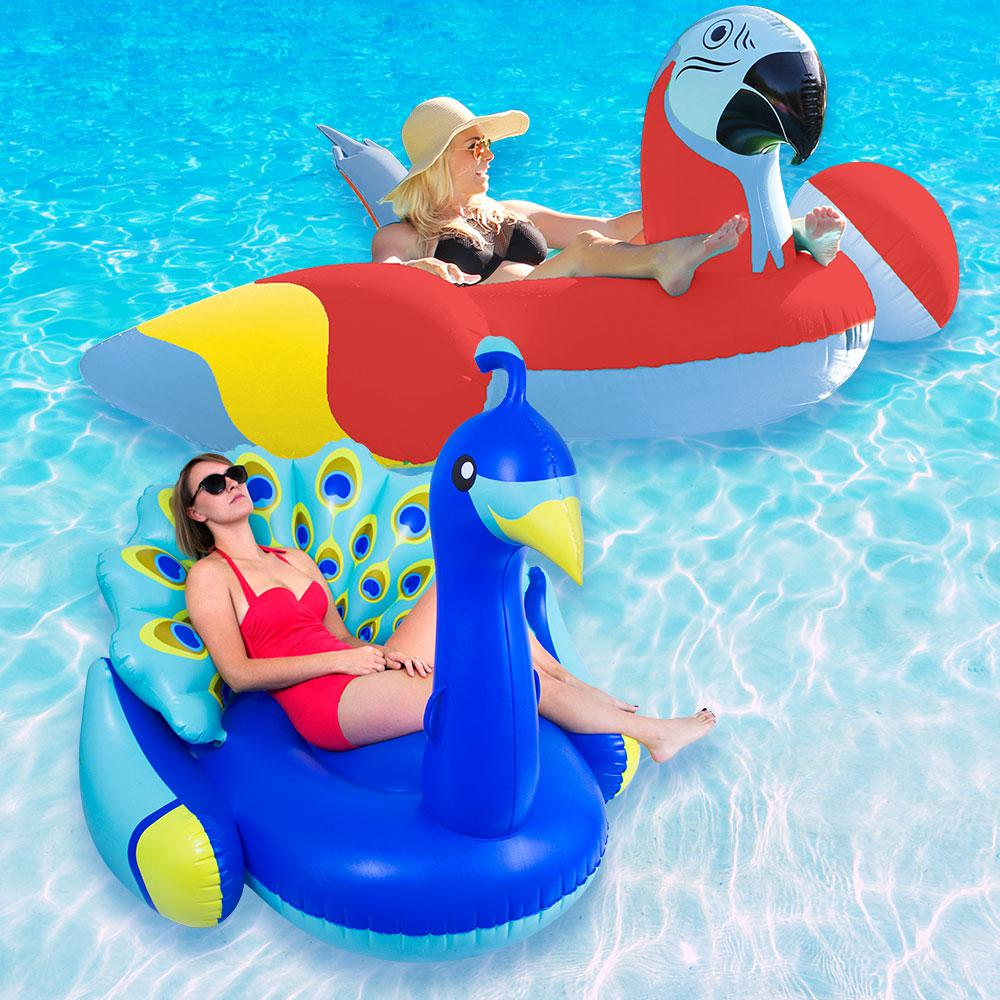 Margaritaville Red Parrot Head and Giant Peacock Swimming Pool Float Combo