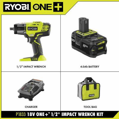 18-Volt ONE+ Lithium-Ion Cordless 3-Speed 1/2 in. Impact Wrench Kit with (1) 4.0 Ah Battery, 18-Volt Charger, and Bag
