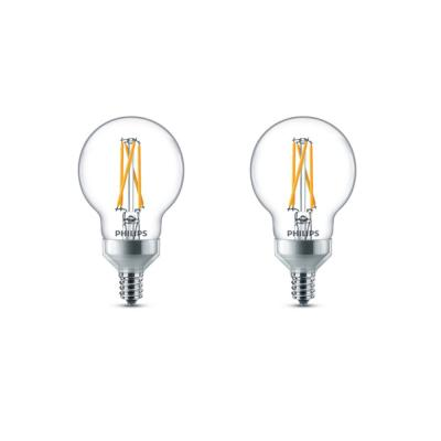 60-Watt Equivalent G16.5 Dimmable Candelabra Base LED Light Bulb with Warm Glow Dimming Effect Soft White (2-Pack)