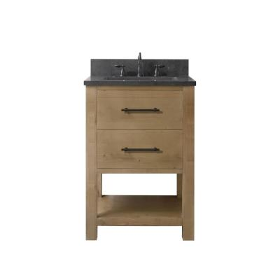 Windwood 24 in. W x 22 in. D x 34 in. H Bath Vanity in Natural with Blue Limestone Vanity Top with White Basin