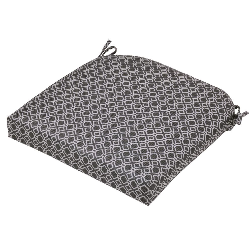 Black Geo Square Outdoor Seat Cushion