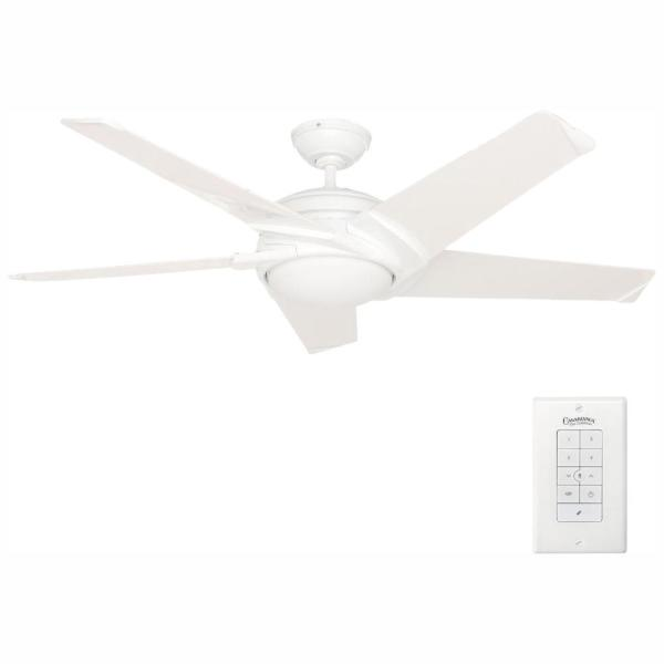 Stealth 54 in. Integrated LED Indoor Snow White Ceiling Fan with Universal Wall Control