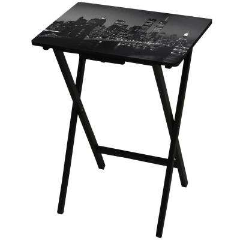Oriental Furniture 19 in. x 13.75 in. Brooklyn Bridge TV Tray in Black