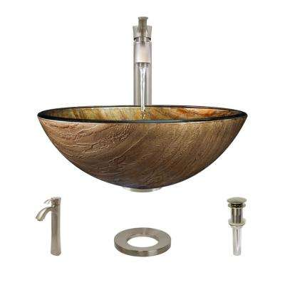 Glass Vessel Sink in Bronze Hues with R9-7006 Faucet and Pop-Up Drain in Brushed Nickel