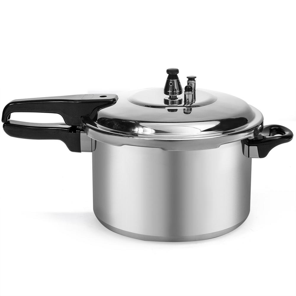 8 Qt. Aluminum Stove Top Pressure Cooker Pot with Steam Release Valve
