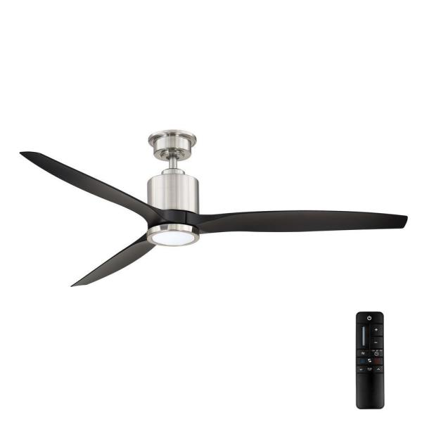 Triplex 60 in. LED Brushed Nickel Ceiling Fan