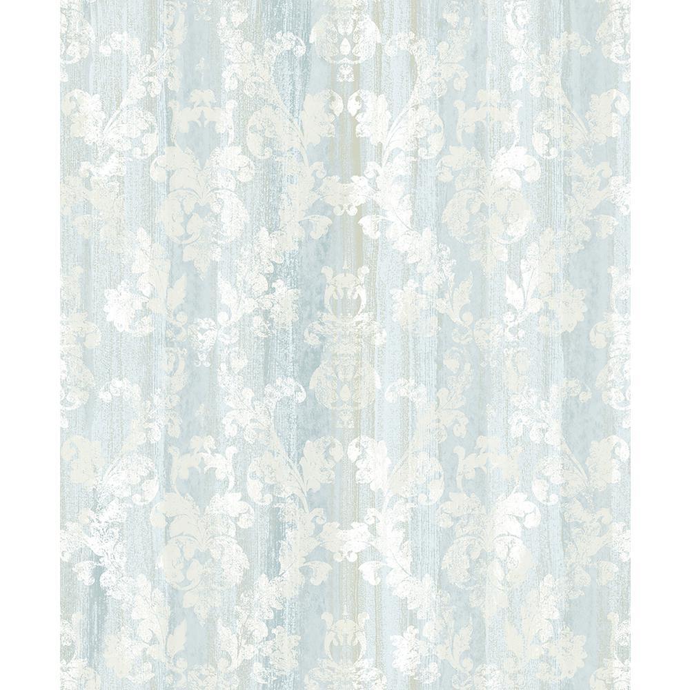 Camilia Light Blue Damask Wallpaper