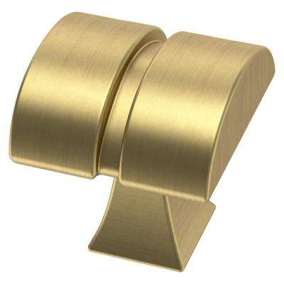 Warm Industrial 1-1/8 in. (28 mm) Brushed Brass Square Cabinet Knob