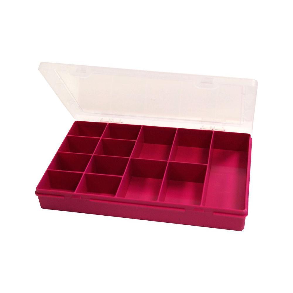 11.5 in. 13-Compartment Small Parts Organizer Box in Fuschia
