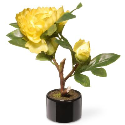 9.5 in. Yellow Peony Flower