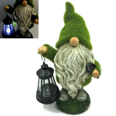 1-Light 13 in. Integrated LED Solar Powered Bearded Grassy Gnome with Grass Finish