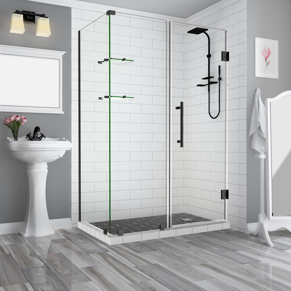 Aston Bromley GS 71.25 to 72.25 x 34.375 x 72 Frameless Corner Hinged Shower Enclosure with Glass Shelves in Oil Rubbed Bronze