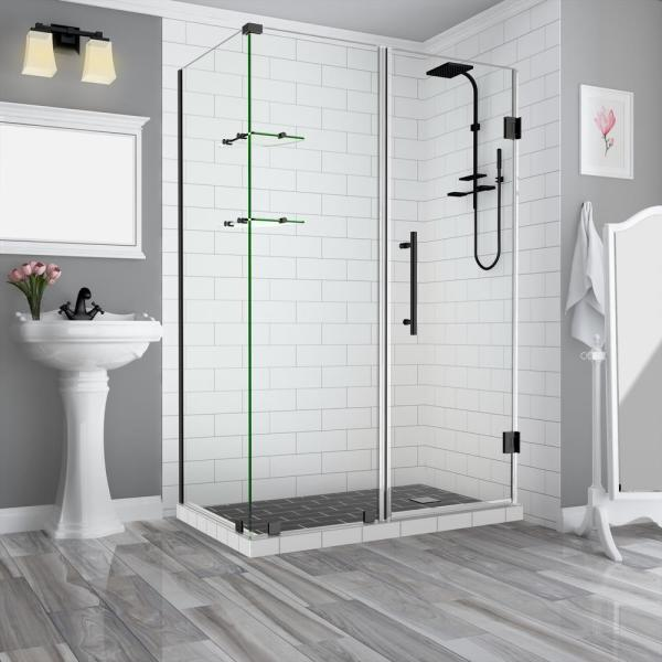 60.25 in. to 61.25 in. x 32.375 in. x 72 in. Frameless Corner Hinged Shower Enclosure with Glass Shelves in Matte Black