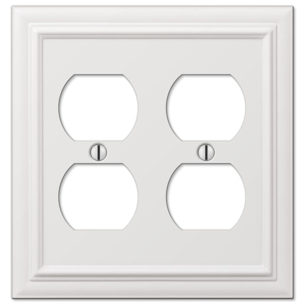 Continental 2 Gang Duplex Metal Wall Plate - White