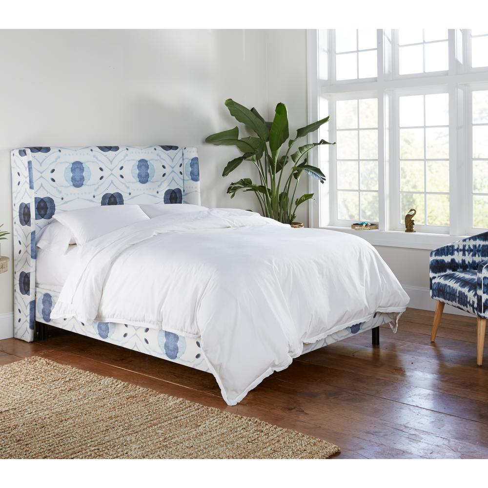 Skyline furniture delray blue queen wingback bed