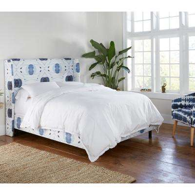 Delray Blue Queen Wingback Bed