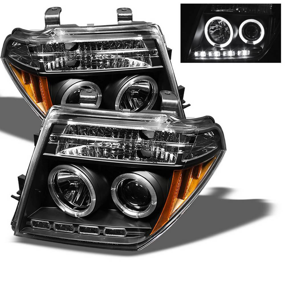 Nissan Frontier 05 08 Pathfinder 07 Projector Headlights Led Halo Replaceable Leds Black