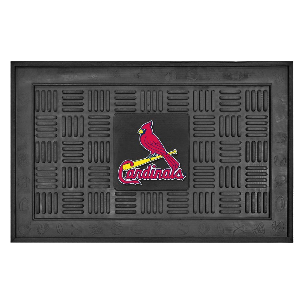 MLB St. Louis Cardinals Black 19 in. x 30 in. Vinyl Indoor/Outdoor Door Mat