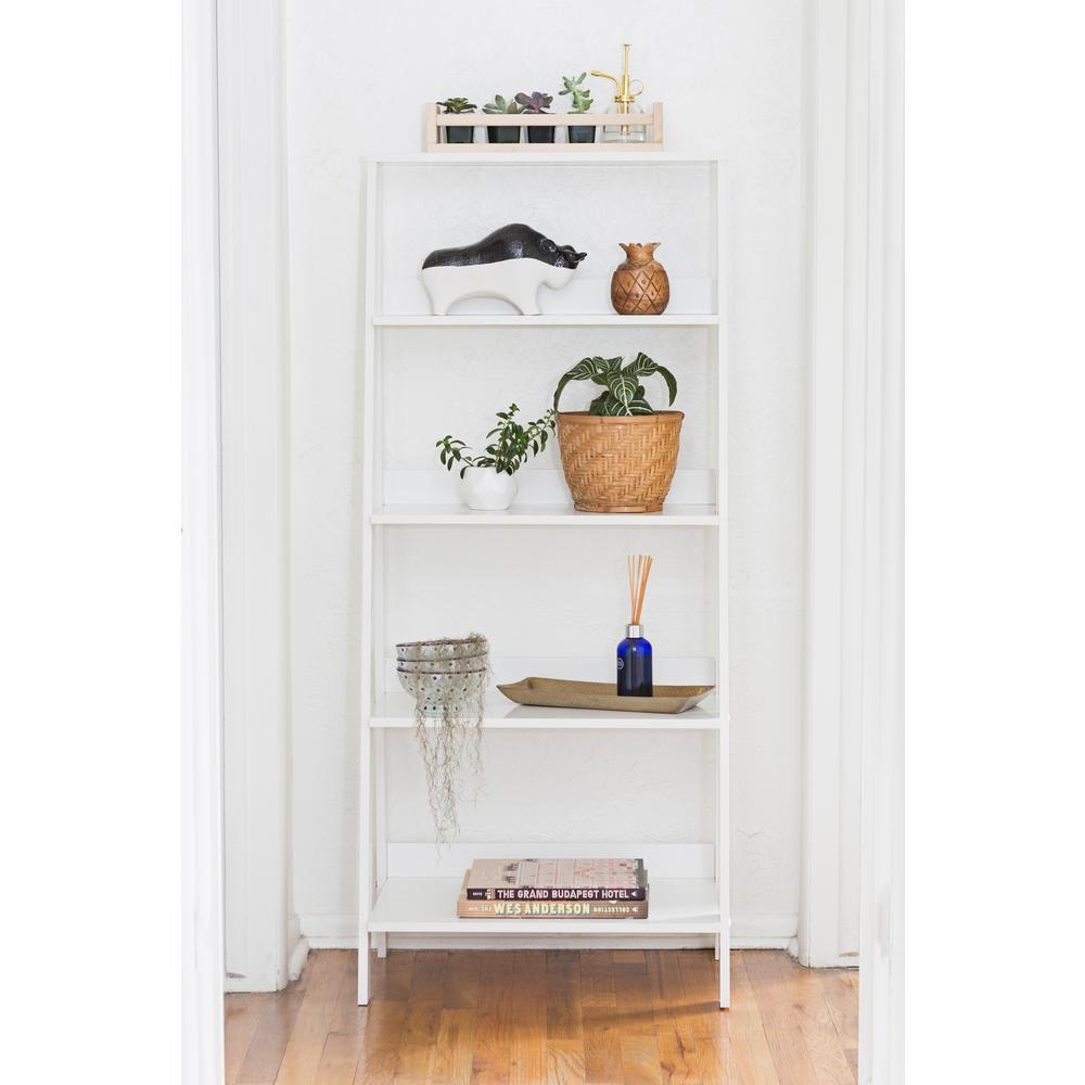 55 in. White Wood 4-shelf Ladder Bookcase with Open Back