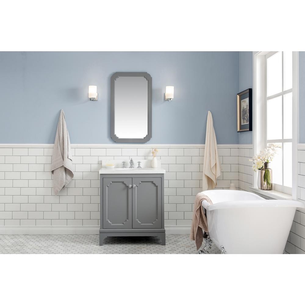 Water Creation Queen 30 in. Cashmere Grey Single Sink Bath Vanity in  Quartz Carrara Vanity With Mirror And F2-0013-01-FX Faucet