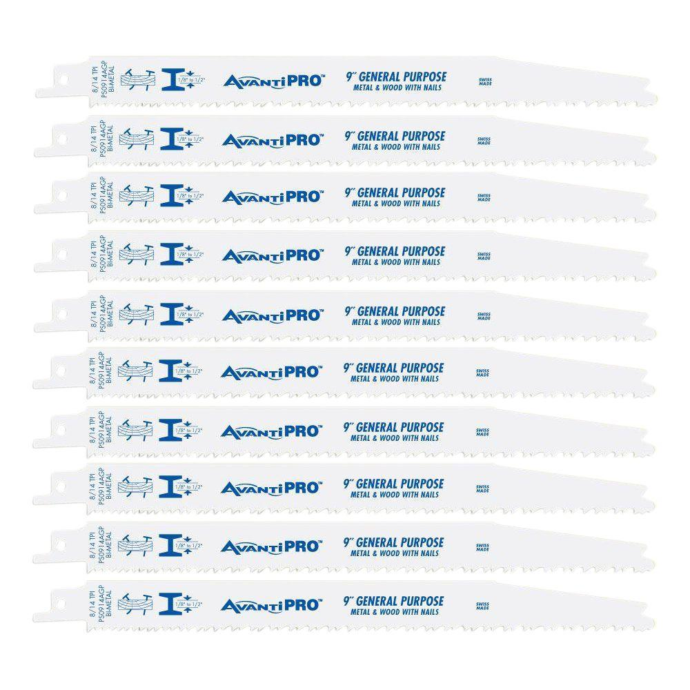 Avanti Pro 9 in. 8/14 Teeth per in. General Purpose Reciprocating Saw Blade (10-Pack)
