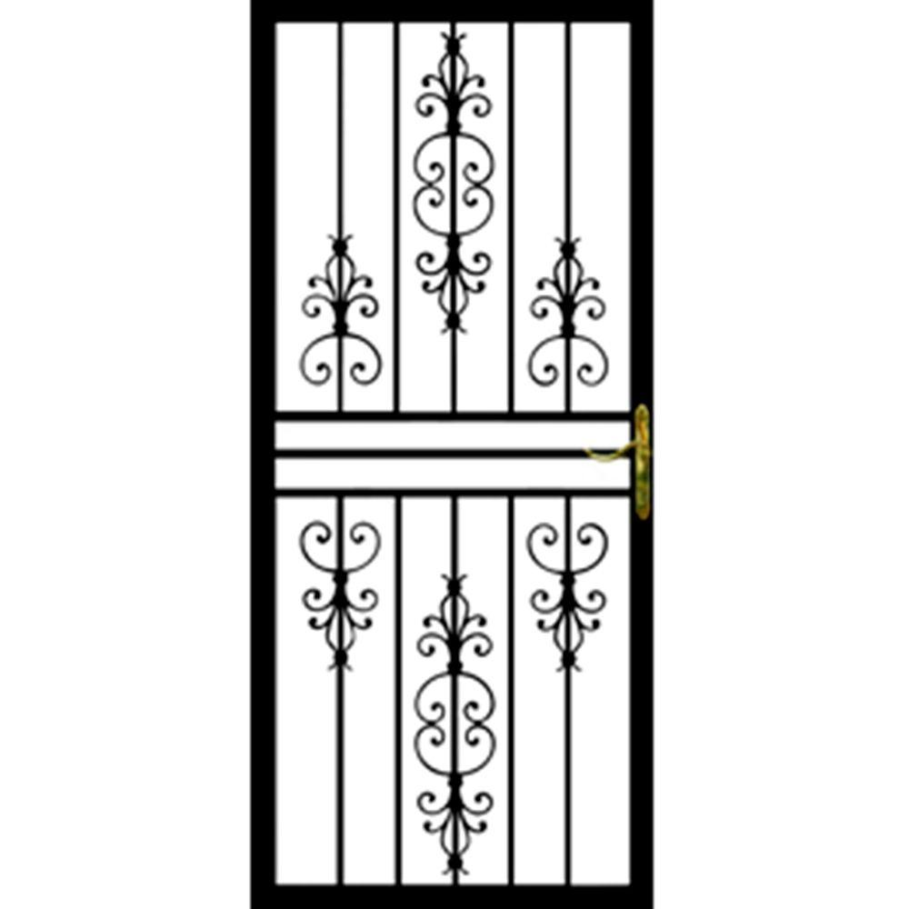 Grisham 36 in. x 80 in. 108 Series Black Hinge Left Flower Security Door with Self-Storing Glass Feature