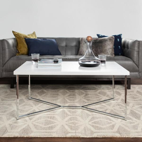 42 in. Chrome/White Large Rectangle Faux Marble Coffee Table