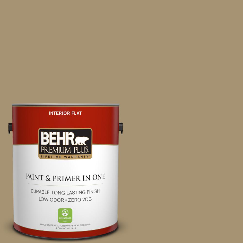 BEHR Premium Plus 1-gal. #ICC-78 Earthenware Zero VOC Flat Interior Paint