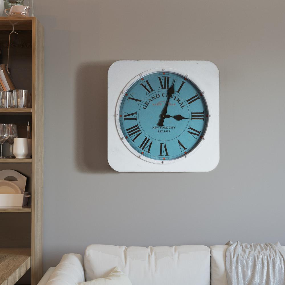 Grand Central Distressed White Square Wall Clock