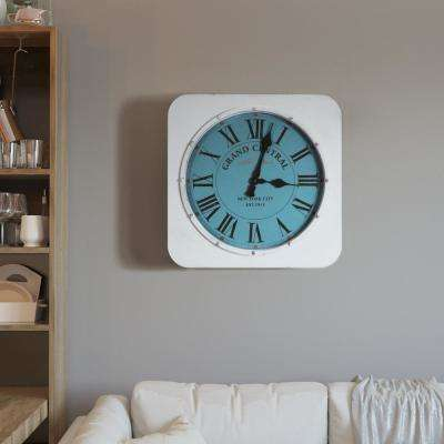 Grand Central Distressed White Square Wall Clock