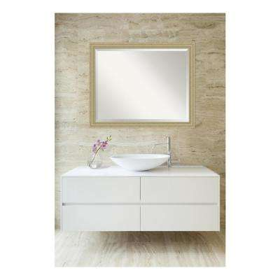 Champagne Teardrop Wood 31 in. W x 25 in. H Single Traditional Bathroom Vanity Mirror