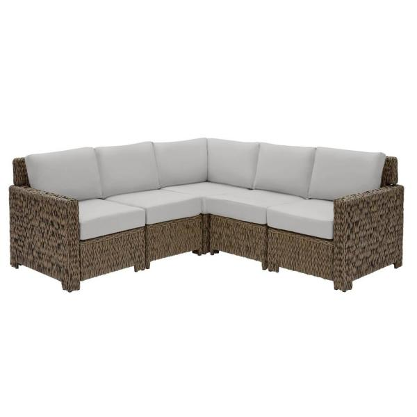 Laguna Point 5-Piece Brown Wicker Outdoor Patio Sectional Sofa Set with CushionGuard Stone Gray Cushions