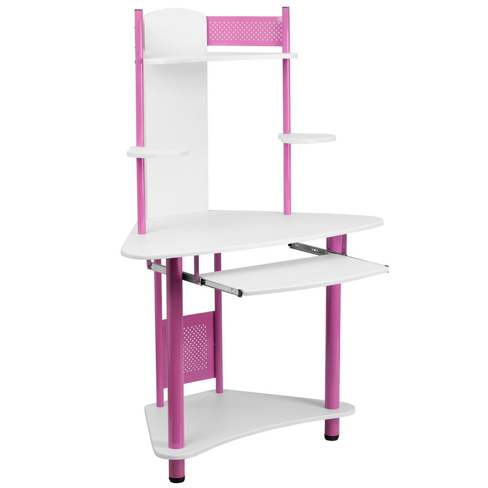 Flash Furniture Pink Corner Computer Desk with Hutch, Pink/ White This computer workstation provides a convenient workspace with a splash of color that will appeal to young kids and adults. This computer desk allows a place to put your monitor or laptop, keyboard, CPU, printer and speakers. The pull-out keyboard platform can store your keyboard away when no longer needed. This desk provides a great option for studying or for casual computer usage. The corner workstation design allows you to save floor space. Color: Pink/ White.
