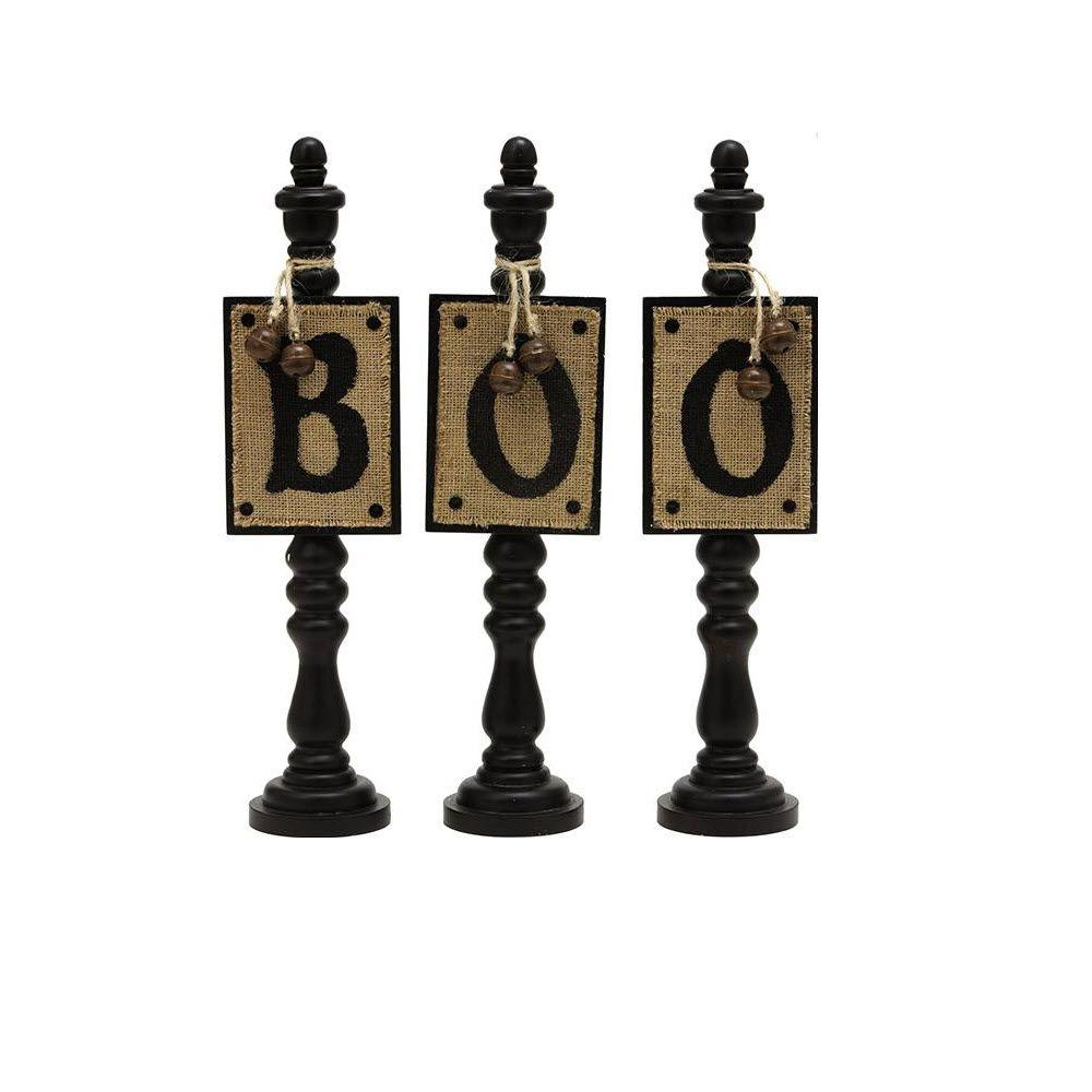 Home Decorators Collection 14.25 in. B-O-O Black/Natural Decorative Letters (Set of 3)