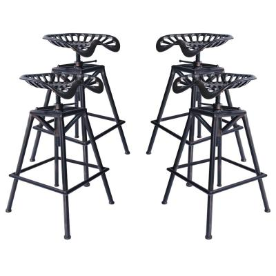 Tractor Adjustable Copper Brushed Gray Barstool (Set of 4)