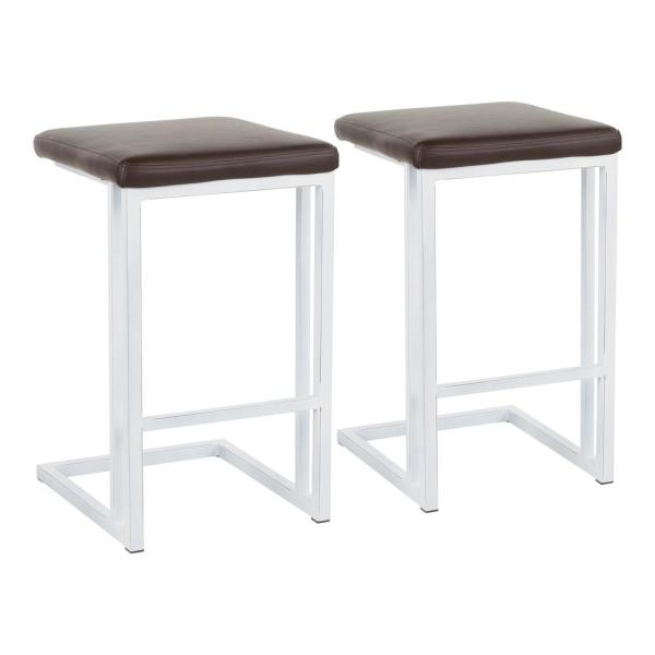 26 in. Espresso Faux Leather and Vintage White Metal Roman Counter Stool (Set of 2)