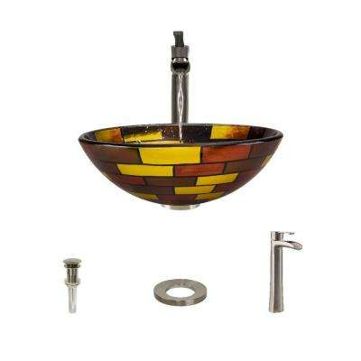 Glass Vessel Sink in Stained Glass with 731 Faucet and Pop-Up Drain in Brushed Nickel