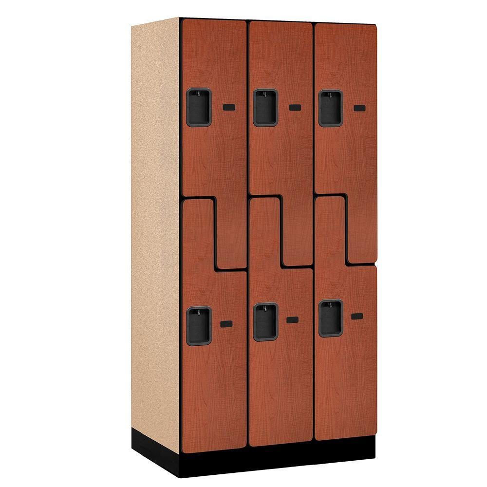 Salsbury Industries 37000 Series 36 in. W x 76 in. H x 21 in. D 2-Tier S-Style Designer Wood Locker in Cherry